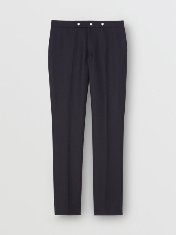 Classic Fit Triple Stud Wool Mohair Tailored Trousers in Midnight Blue - Men | Burberry Australia - cell image 3
