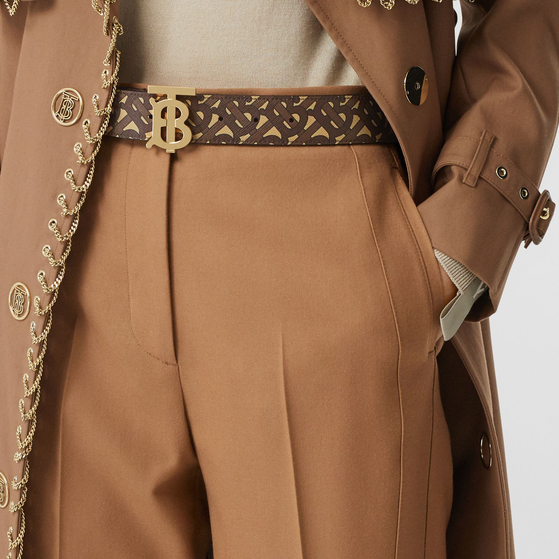 Monogram Stripe E-canvas and Leather Belt in Bridle Brown - Women | Burberry - gallery image 2