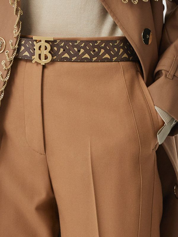 Monogram Stripe E-canvas and Leather Belt in Bridle Brown - Women | Burberry - cell image 2
