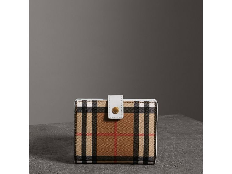 Small Vintage Check and Leather Folding Wallet in Chalk White - Women | Burberry - cell image 4