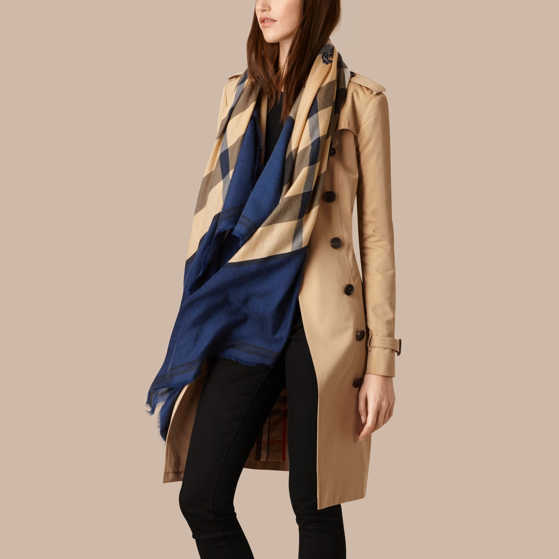 Indigo blue Contrast Border Horseferry Check Cashmere Scarf Indigo Blue - gallery image 3