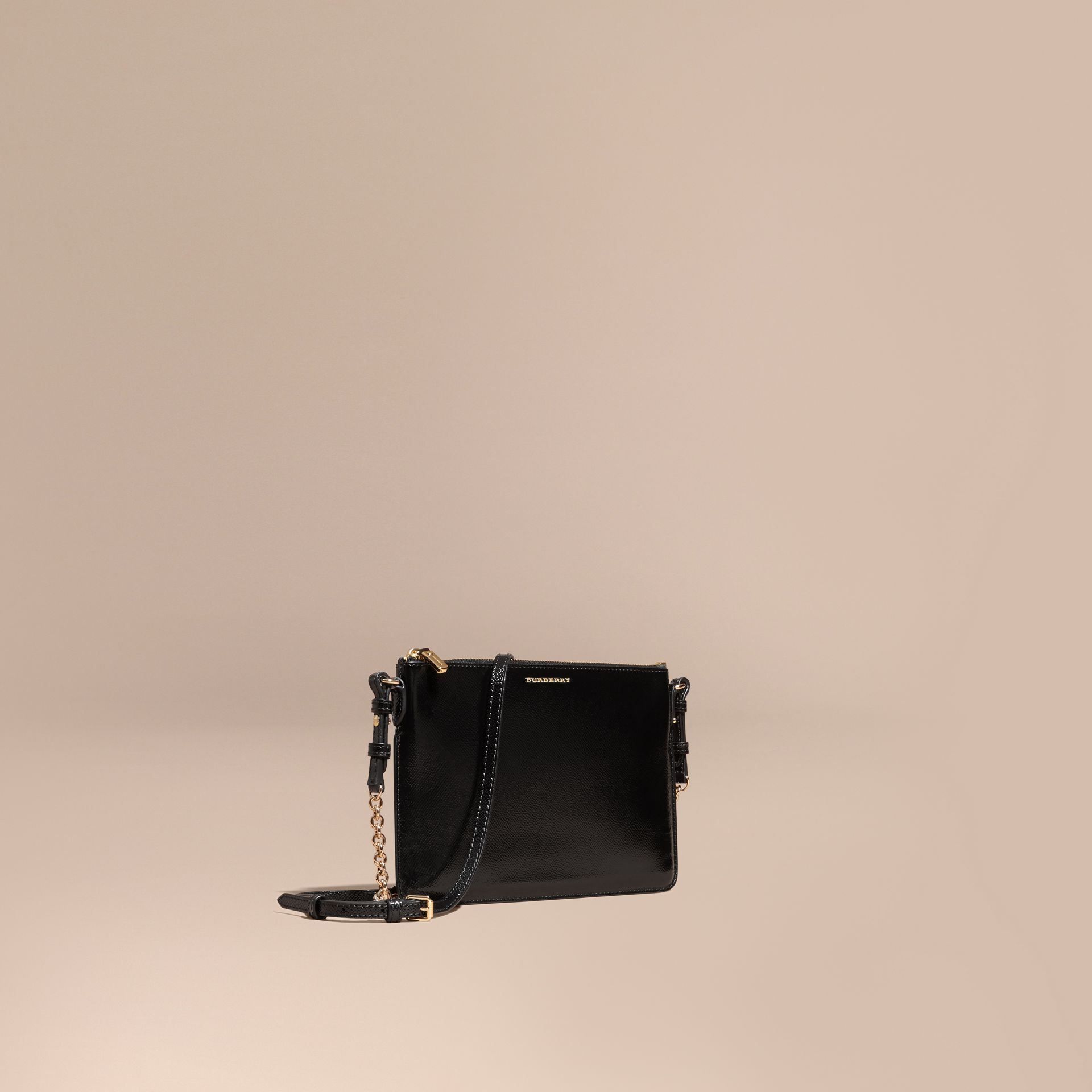 Patent London Leather Clutch Bag in Black - gallery image 1