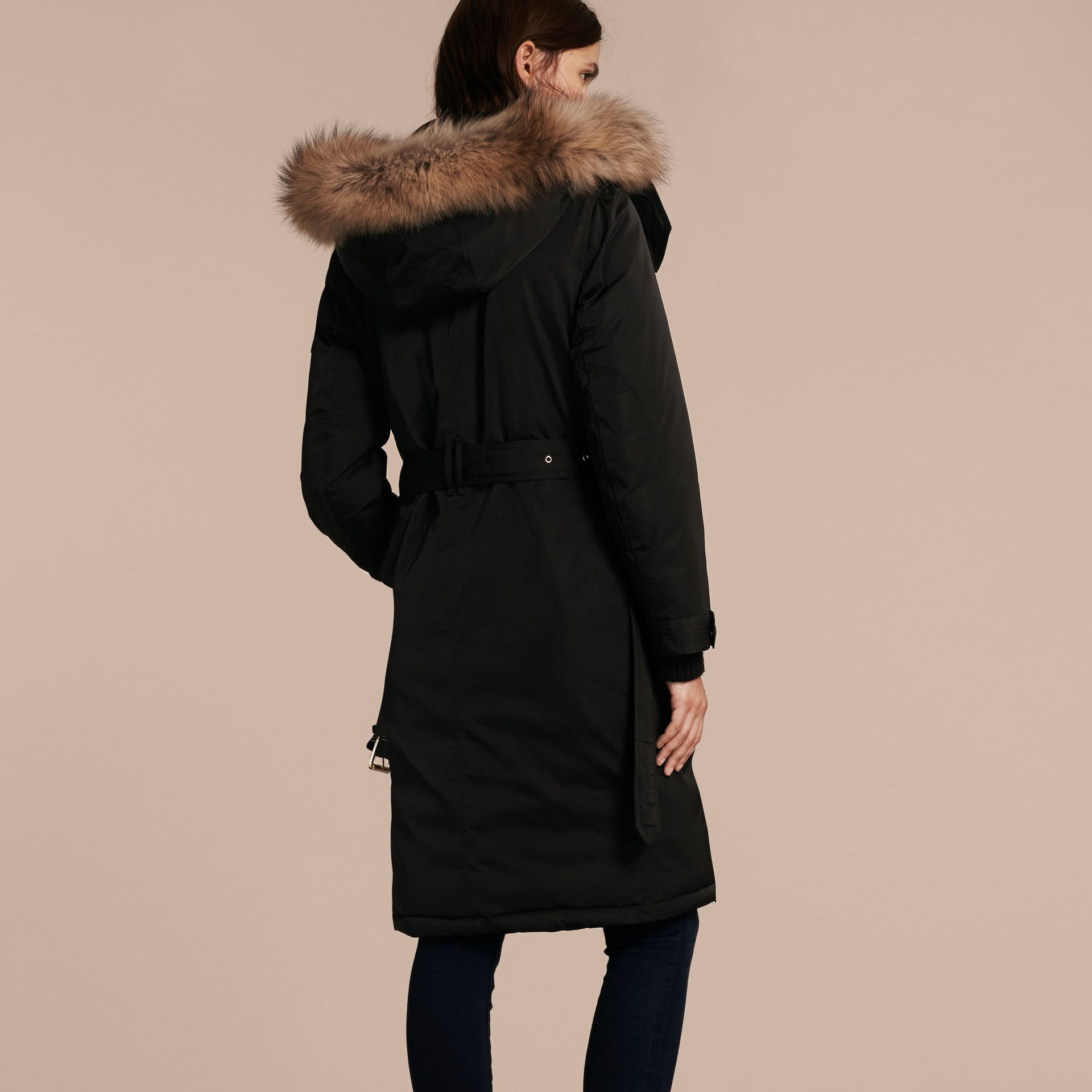 Black Down-filled Parka Coat with Detachable Fur Trim Black - gallery image 3