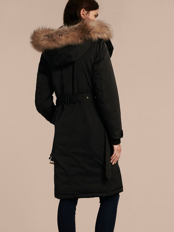 Black Down-filled Parka Coat with Detachable Fur Trim Black - cell image 2