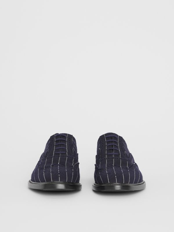 Pinstriped Wool Brogues in Dark Navy | Burberry - cell image 3