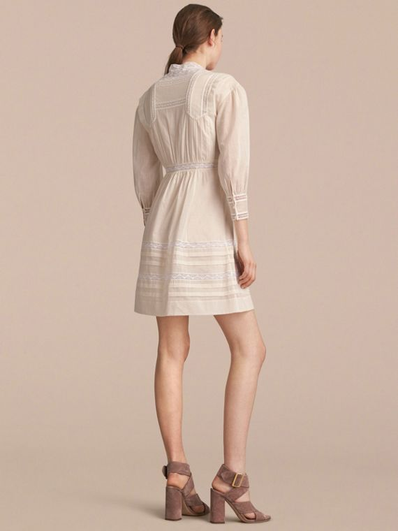 Lace Detail Cotton Voile Dress in Natural White - Women | Burberry - cell image 2