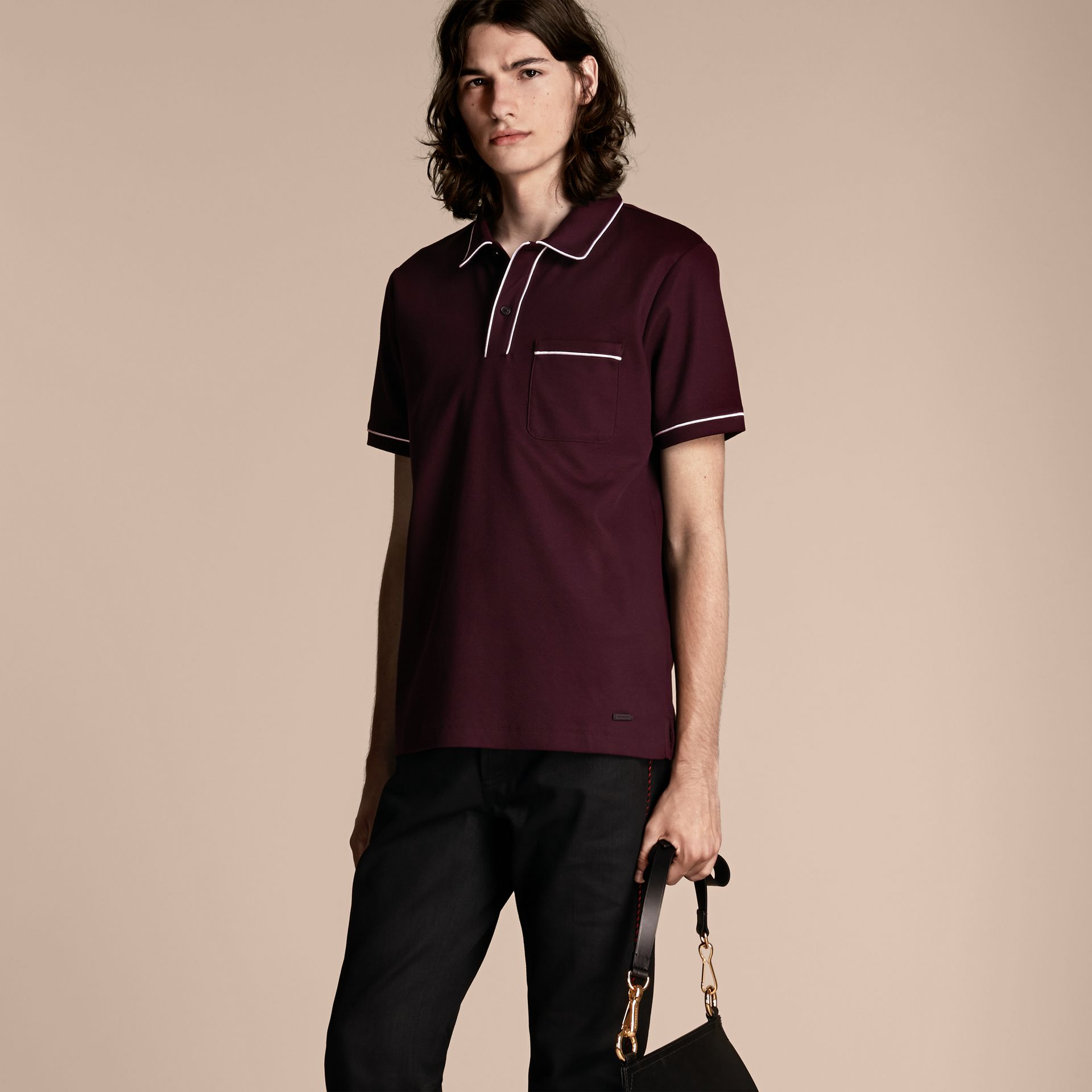 Piped Cotton Piqué Polo Shirt in Burgundy - gallery image 1