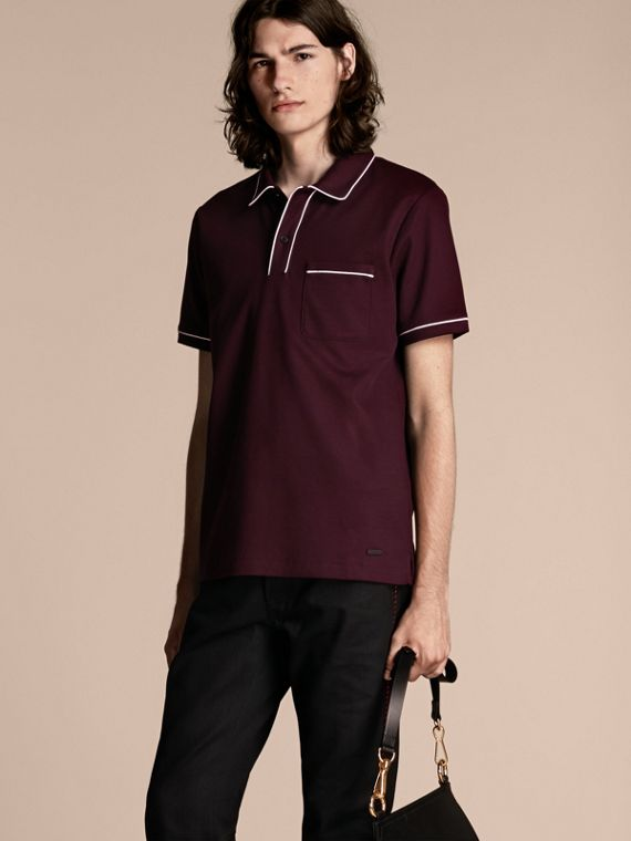 Piped Cotton Piqué Polo Shirt Burgundy
