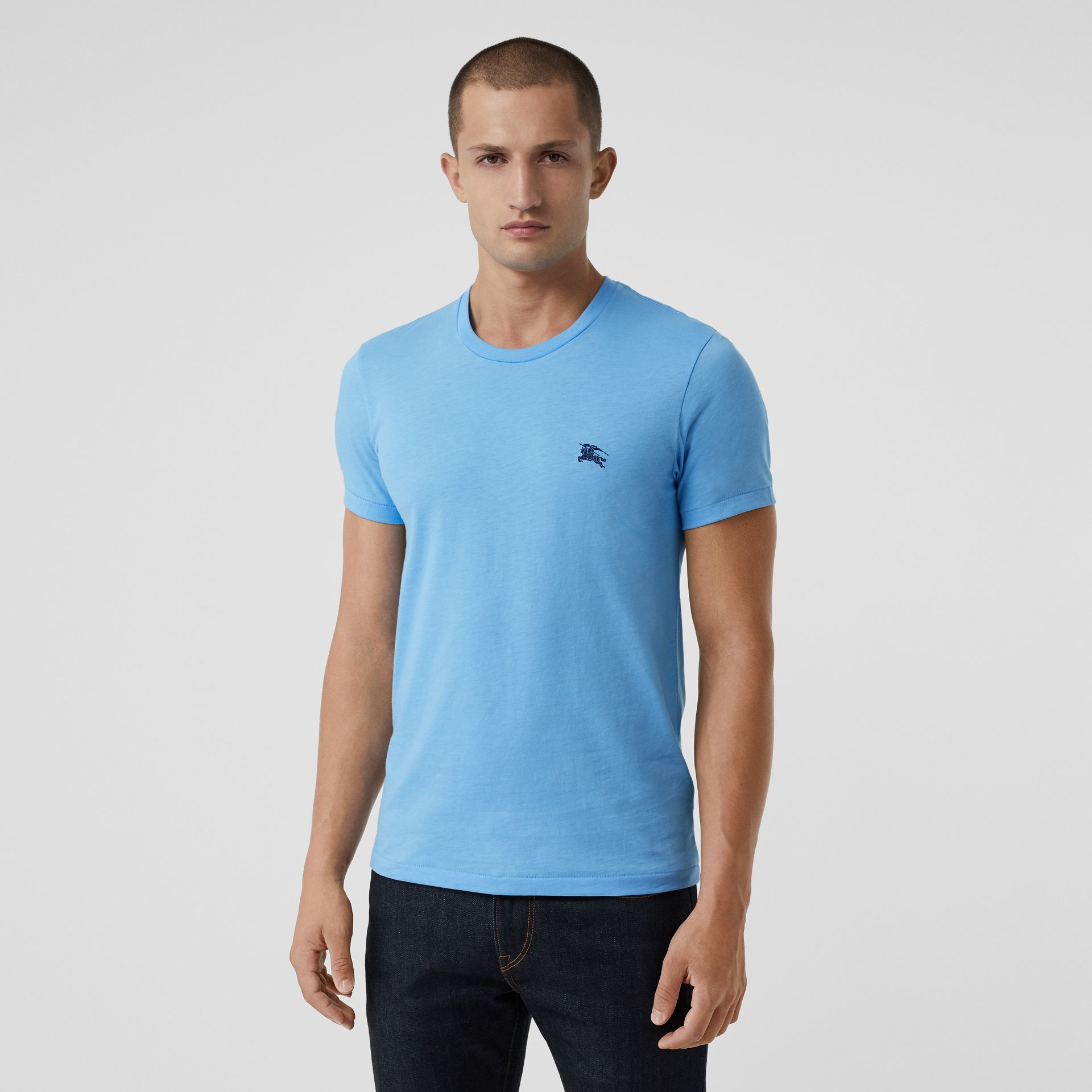 Cotton Jersey T-shirt in Blue Topaz - Men | Burberry - gallery image 0