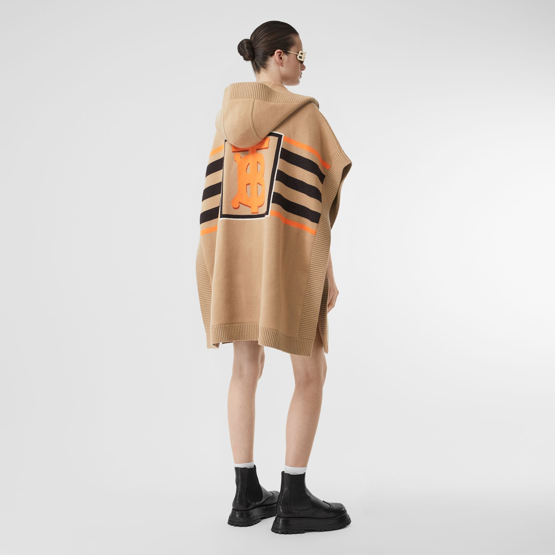 Monogram Motif Intarsia Wool Cashmere Blend Cape in Archive Beige - Women | Burberry Canada - gallery image 5
