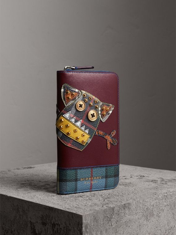 Creature Appliqué Leather Ziparound Wallet in Burgundy Red - Men | Burberry - cell image 3