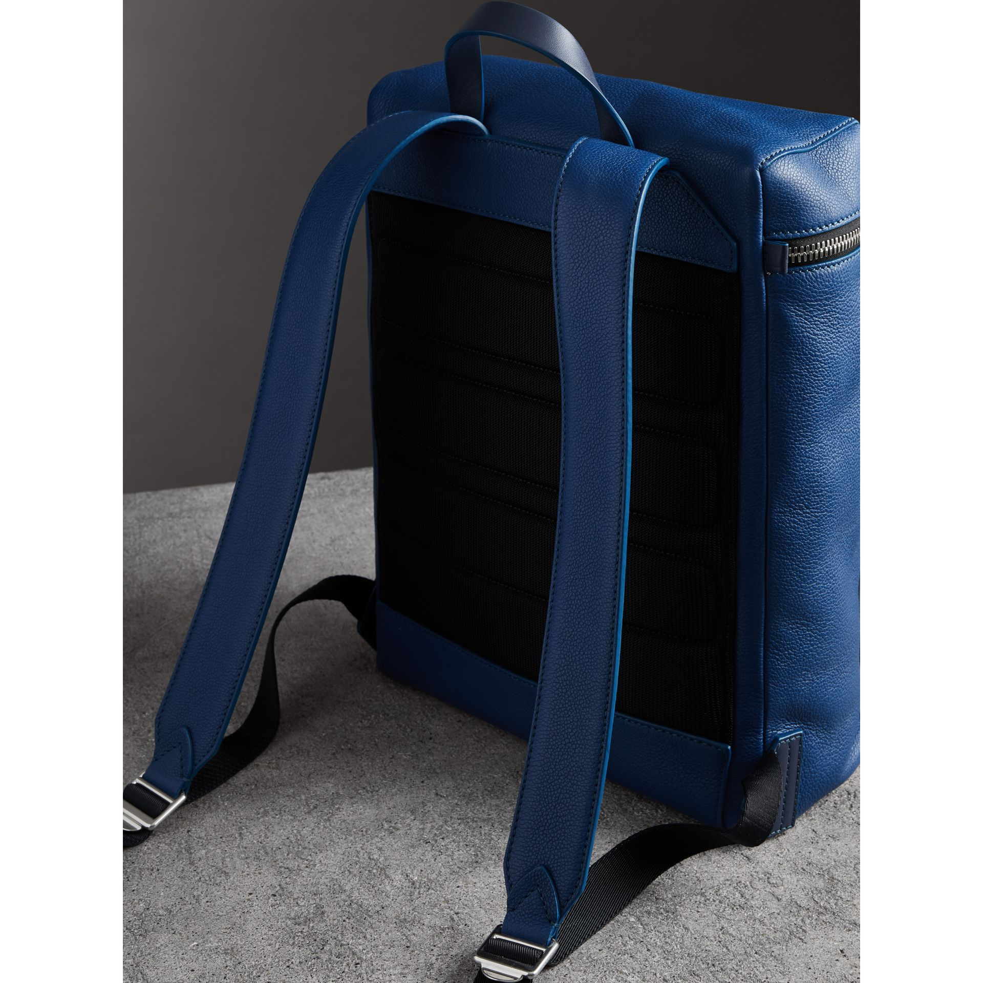 Zip-top Leather Backpack in Bright Ultramarine - Men | Burberry Australia - gallery image 4