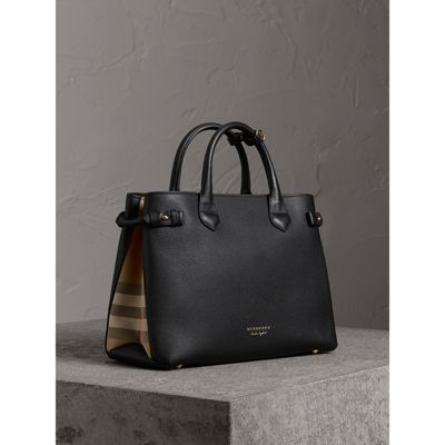 The Medium Banner in Leather and House Check in Black - Women | Burberry -  gallery