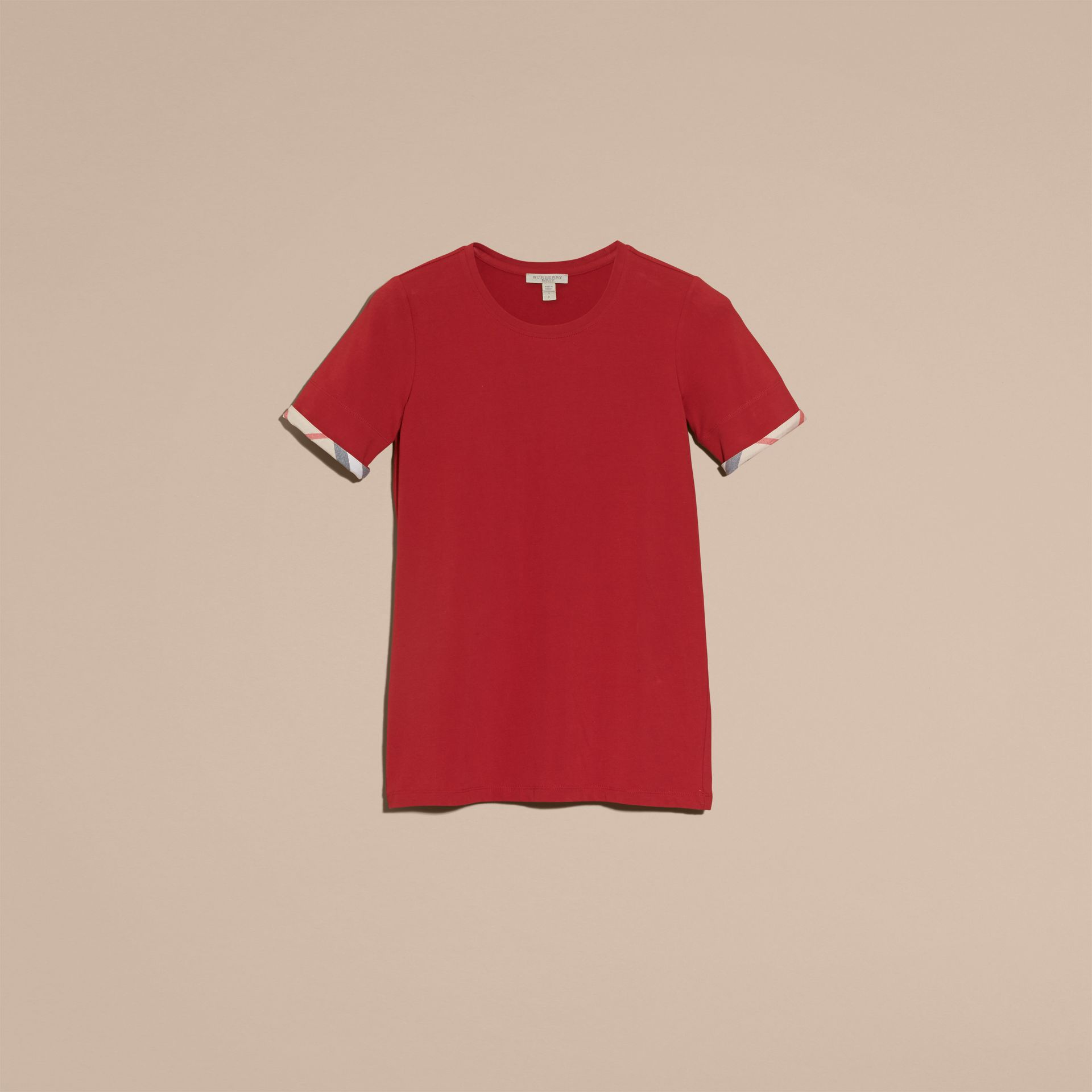 Check Cuff Stretch Cotton T-Shirt in Lacquer Red - gallery image 4