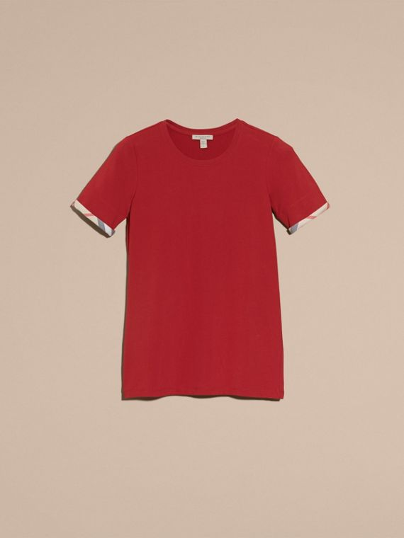 Check Cuff Stretch Cotton T-Shirt in Lacquer Red - cell image 3