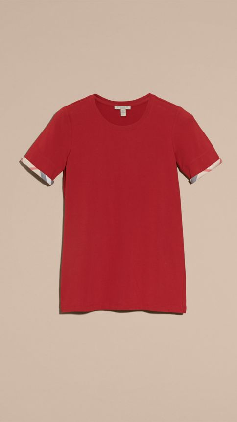 Lacquer red Check Cuff Stretch Cotton T-Shirt Lacquer Red - Image 4