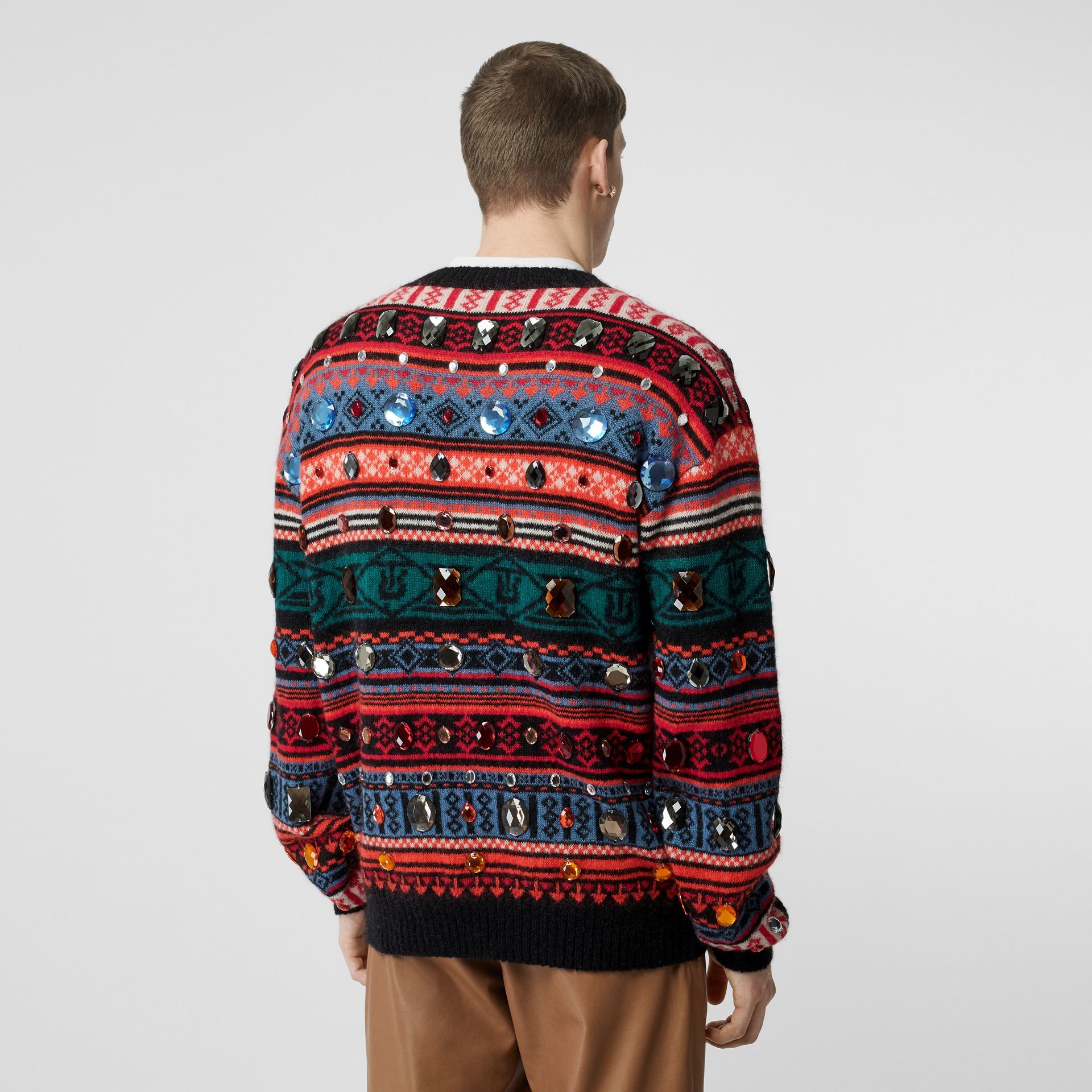 Embellished Fair Isle Mohair Wool Blend Sweater in Bright Orange - Men | Burberry Australia - gallery image 4
