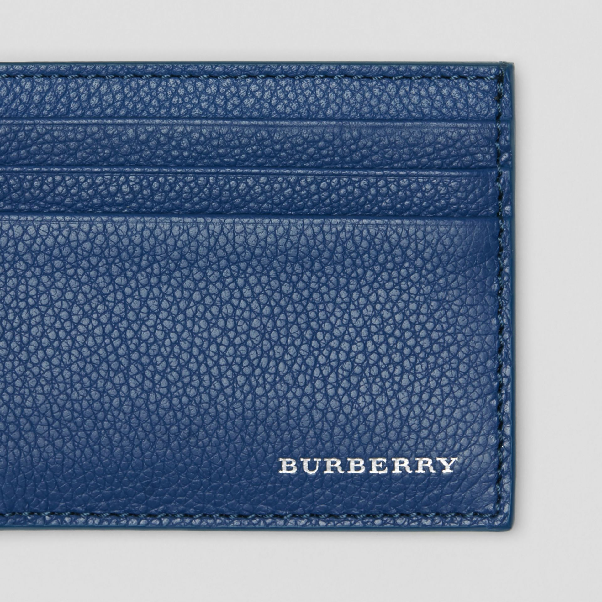 Grainy Leather Money Clip Card Case in Bright Ultramarine - Men | Burberry United States - gallery image 1