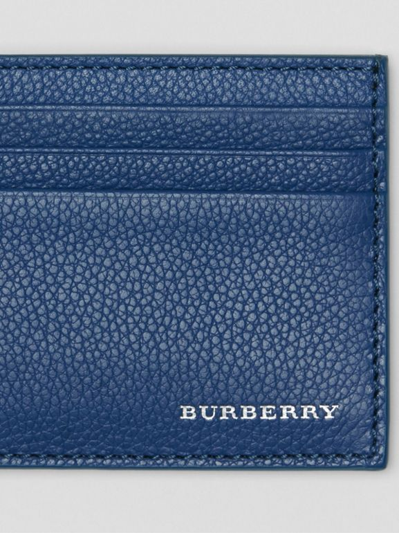 Grainy Leather Money Clip Card Case in Bright Ultramarine - Men | Burberry United States - cell image 1