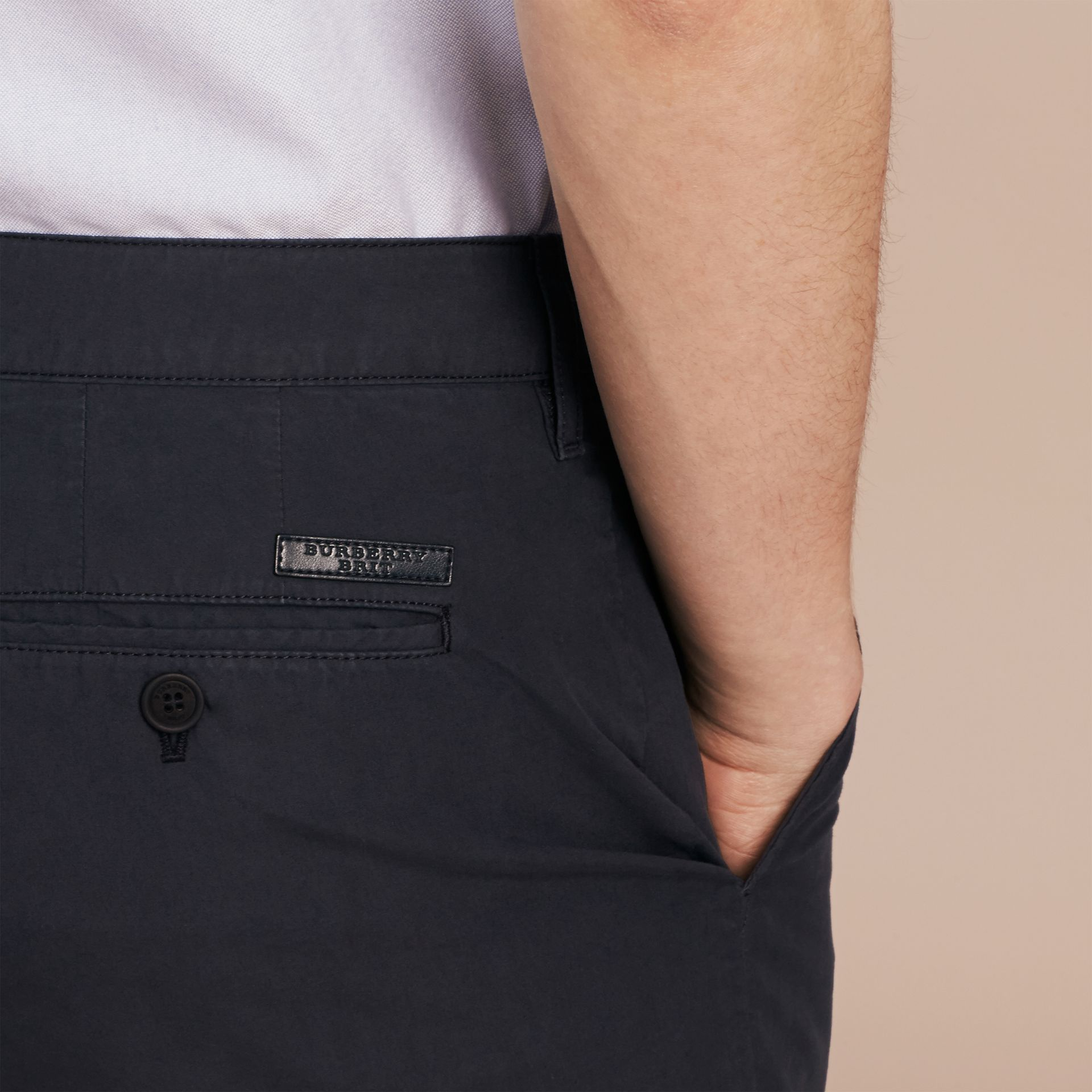 Indigo Cotton Poplin Chino Shorts Indigo - gallery image 5