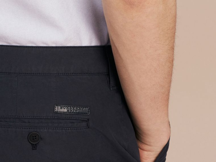 Cotton Poplin Chino Shorts in Indigo - Men | Burberry - cell image 4
