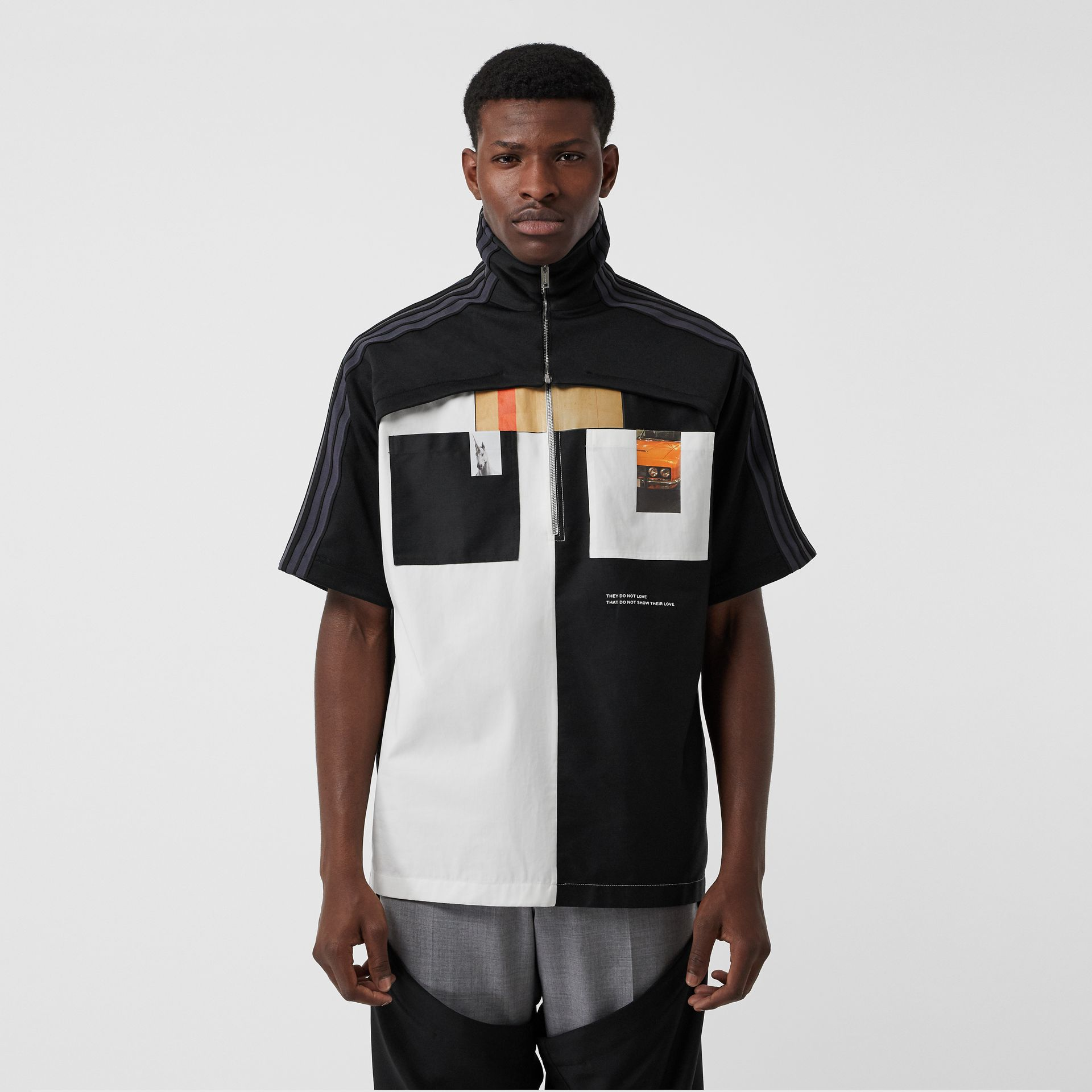 Short-sleeve Track Top Panel Montage Print Shirt in Black - Men | Burberry United States - gallery image 5