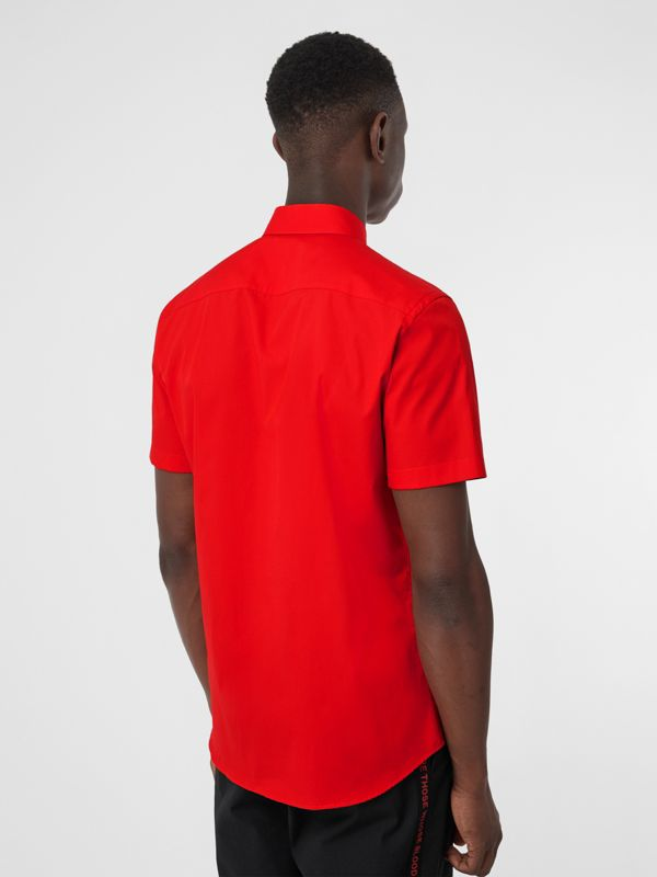Short-sleeve Monogram Motif Stretch Cotton Shirt in Bright Red - Men | Burberry - cell image 2