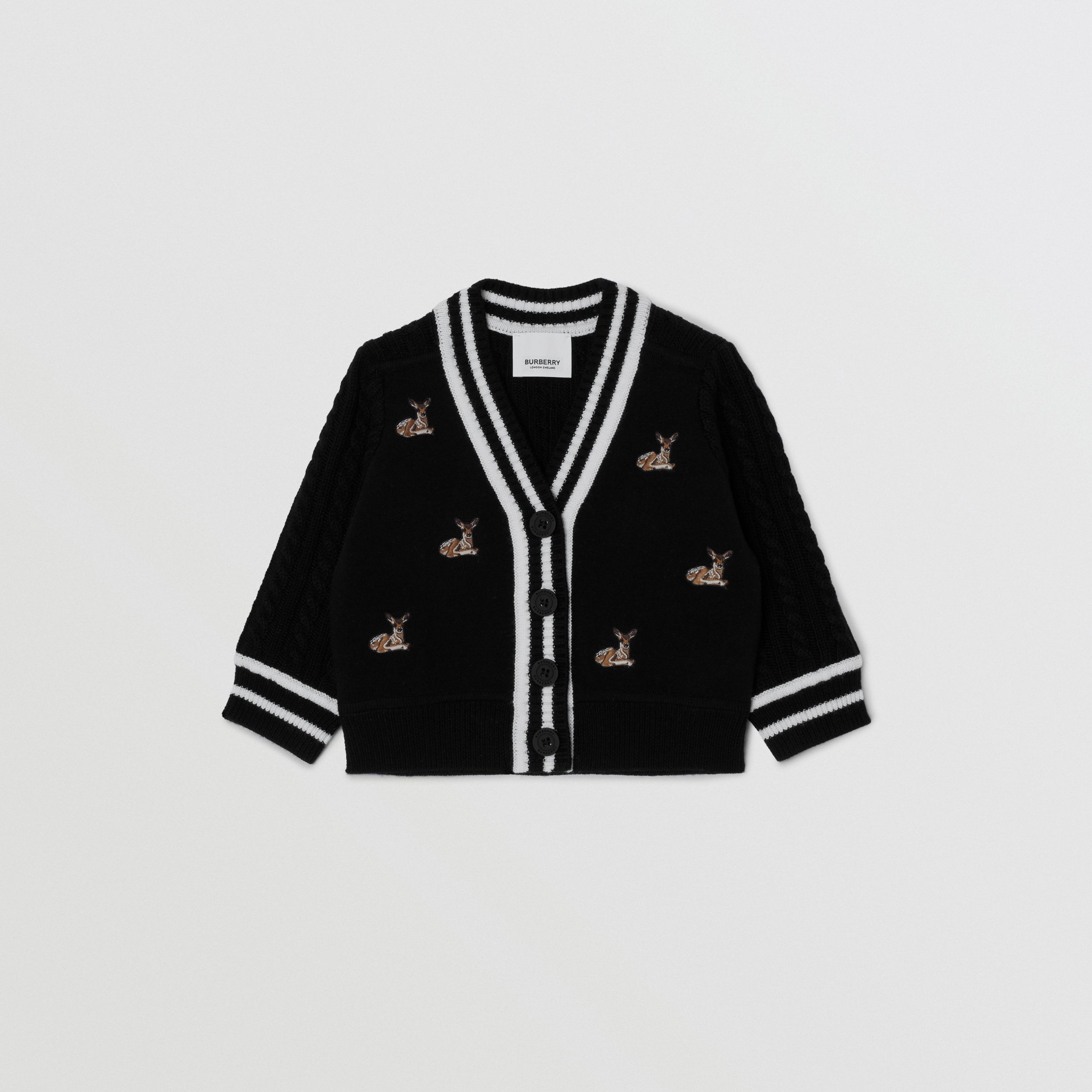 Deer Motif Wool Blend Cardigan - Children | Burberry - 1