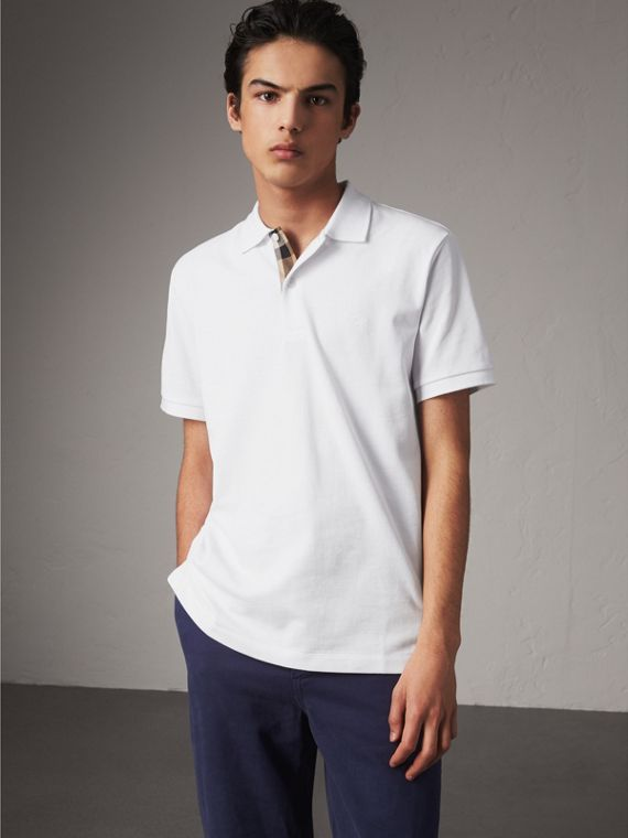 Check Placket Cotton Piqué Polo Shirt in White