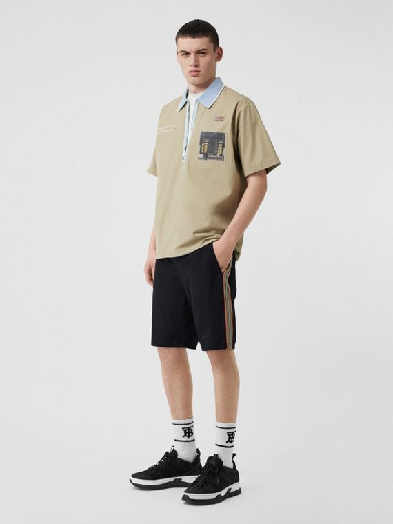 Icon Stripe Detail Cotton Twill Chino Shorts in Navy