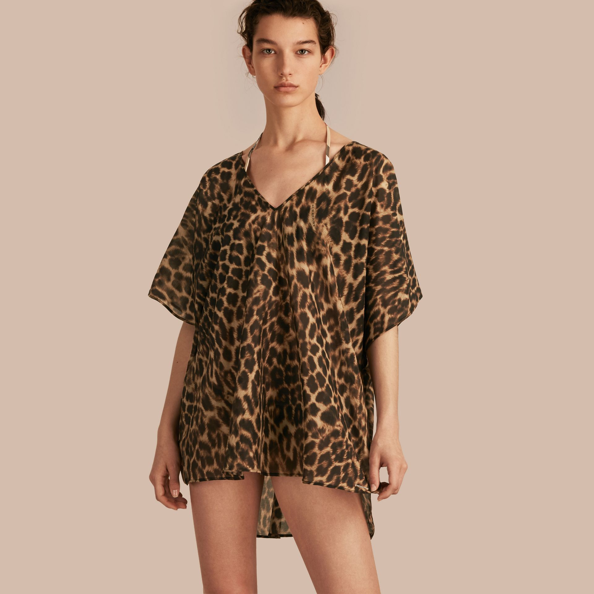 Animal Print Cotton Silk Swimwear Cover-up - gallery image 1