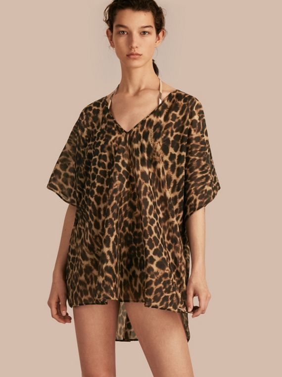 Animal Print Cotton Silk Swimwear Cover-up