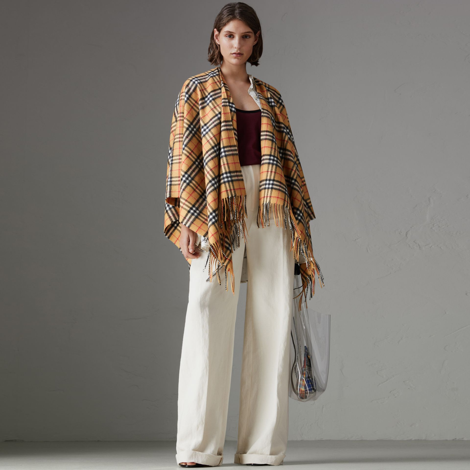 Vintage Check Cashmere Wool Poncho in Antique Yellow - Women | Burberry - gallery image 0
