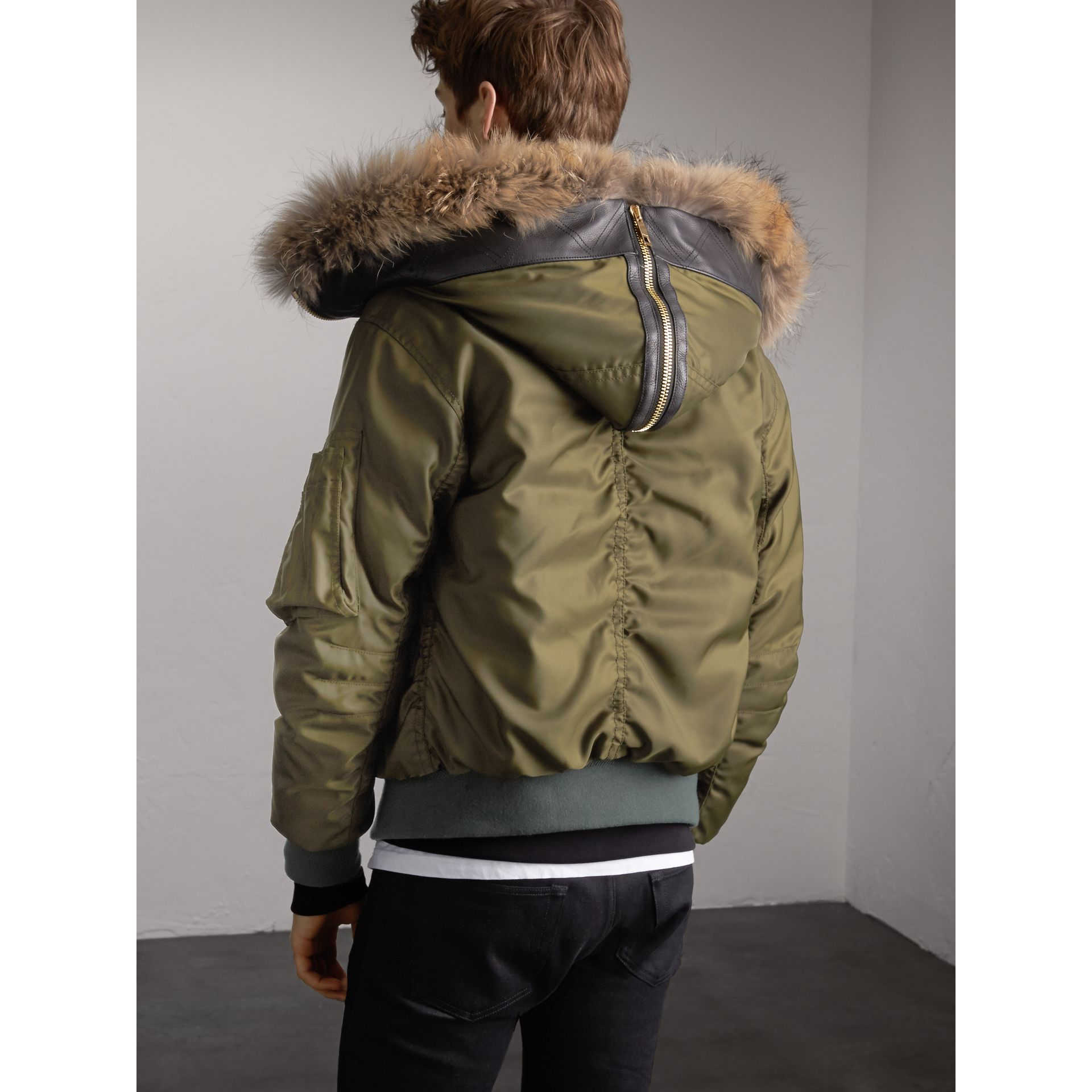 Raccoon Fur and Shearling Hood Duck-down Jacket in Caper Green - Men | Burberry - gallery image 3