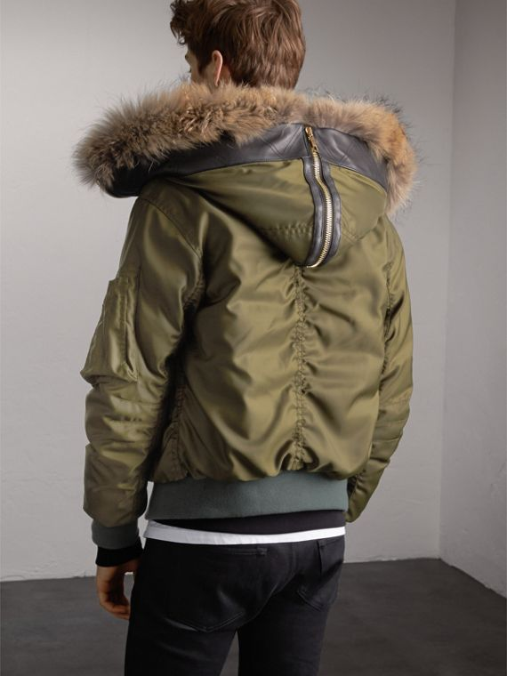 Raccoon Fur and Shearling Hood Duck-down Jacket in Caper Green - Men | Burberry - cell image 2