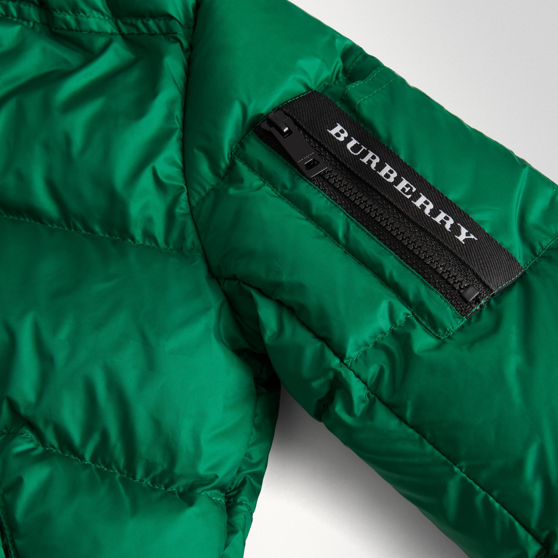 Detachable Hood Down-filled Puffer Coat in Dark Pigment Green | Burberry - gallery image 1