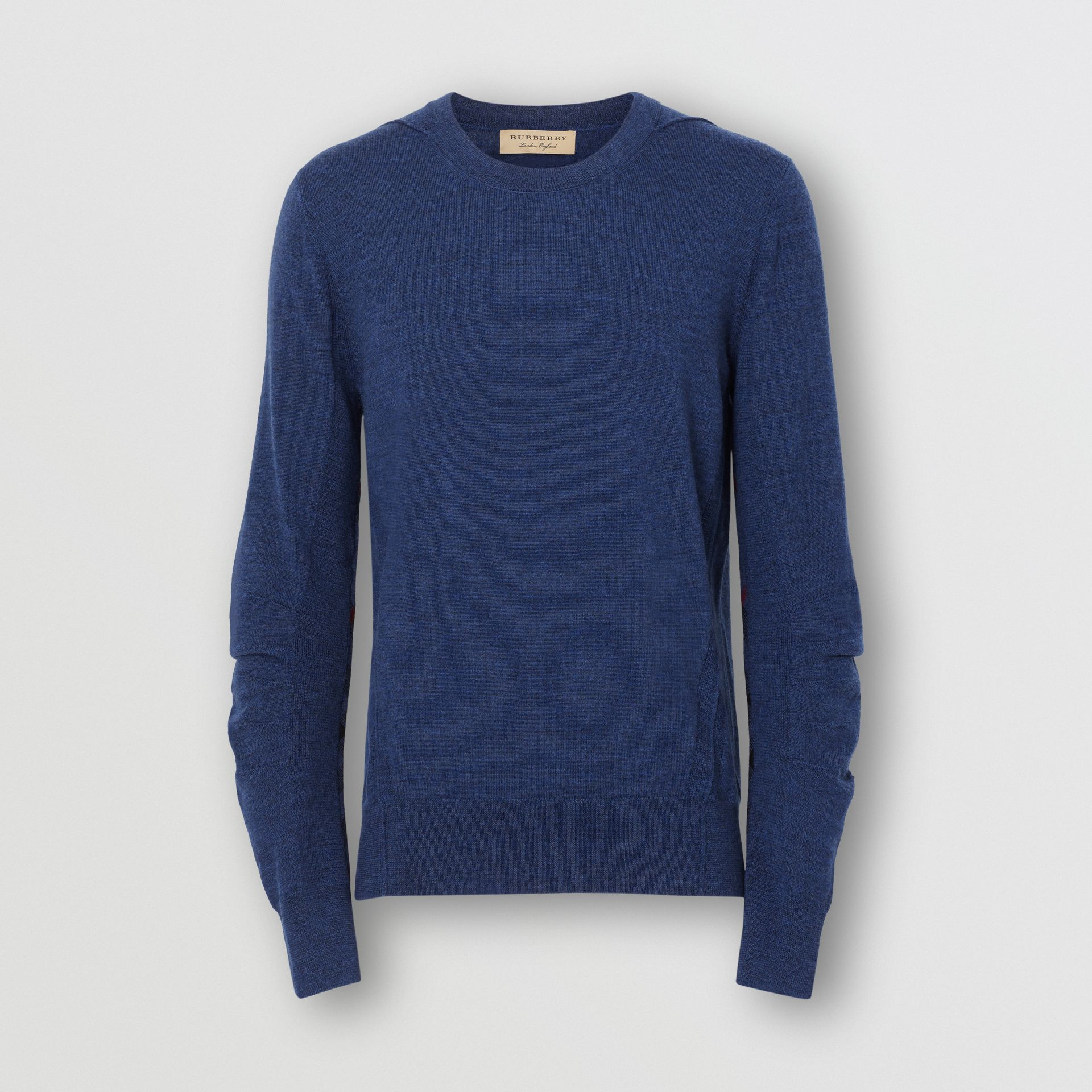 Rib Knit Detail Merino Wool Sweater in Storm Blue - Men | Burberry United Kingdom - gallery image 3