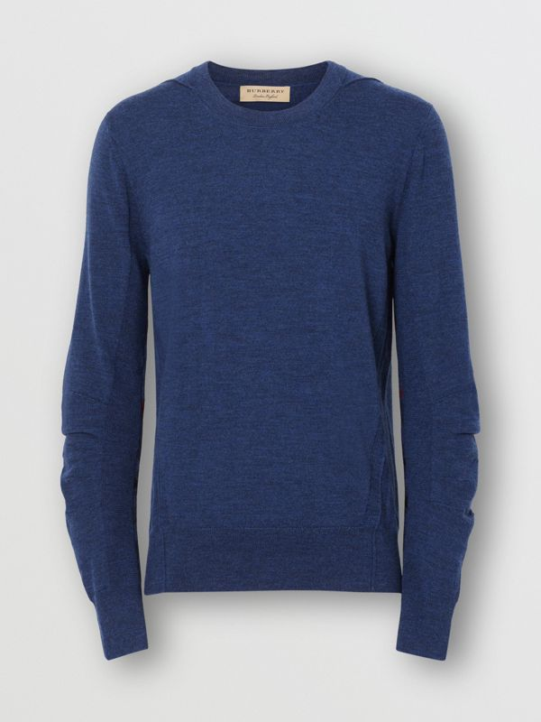 Rib Knit Detail Merino Wool Sweater in Storm Blue - Men | Burberry Canada - cell image 3