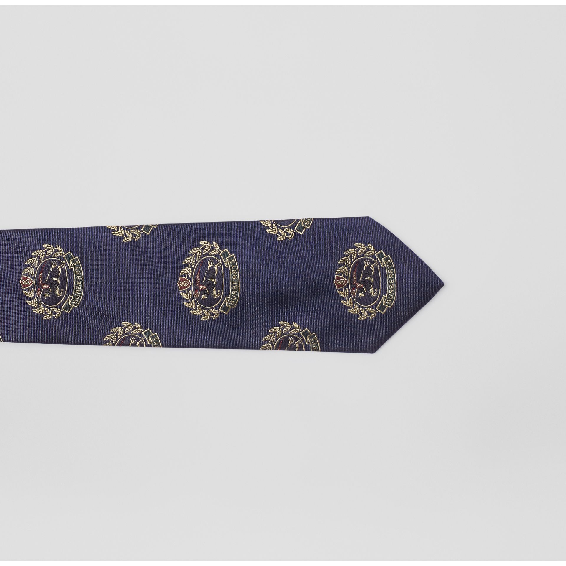 Slim Cut Archive Crest Silk Tie in Navy - Men | Burberry United Kingdom - gallery image 1