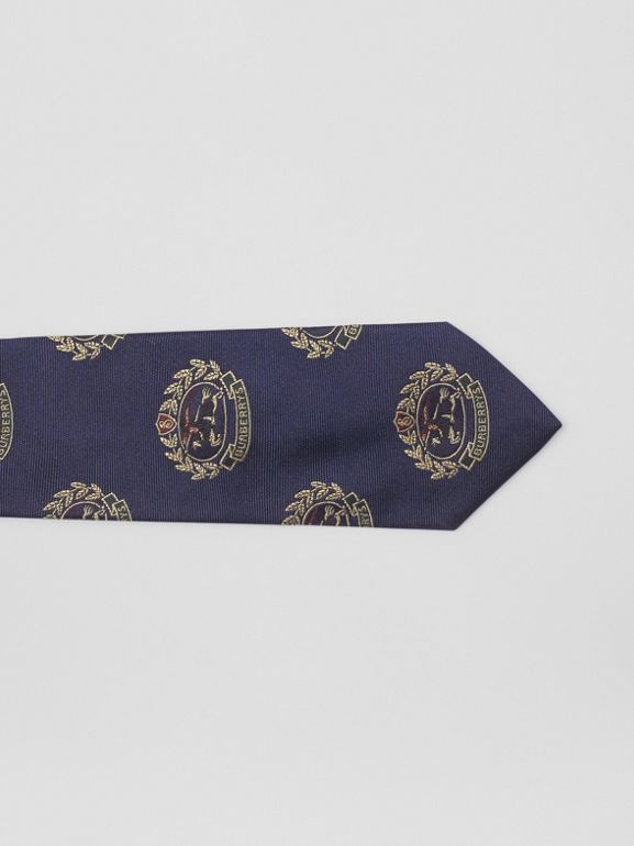 Slim Cut Archive Crest Silk Tie in Navy - Men | Burberry United Kingdom - cell image 1