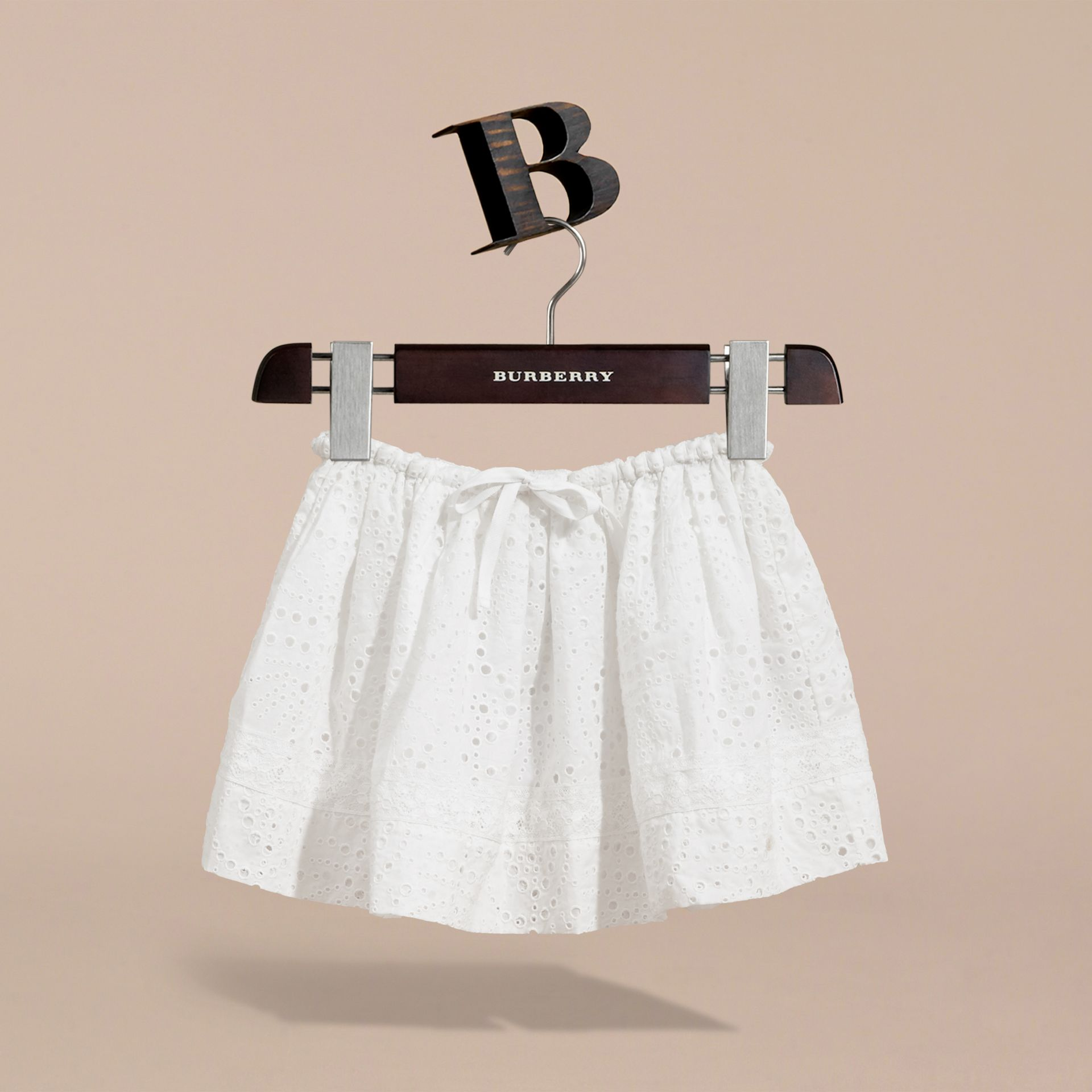 Broderie Anglaise Cotton Skirt with Lace Trim in White | Burberry - gallery image 3