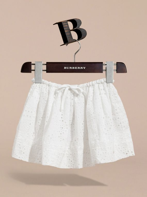 Broderie Anglaise Cotton Skirt with Lace Trim in White | Burberry - cell image 2
