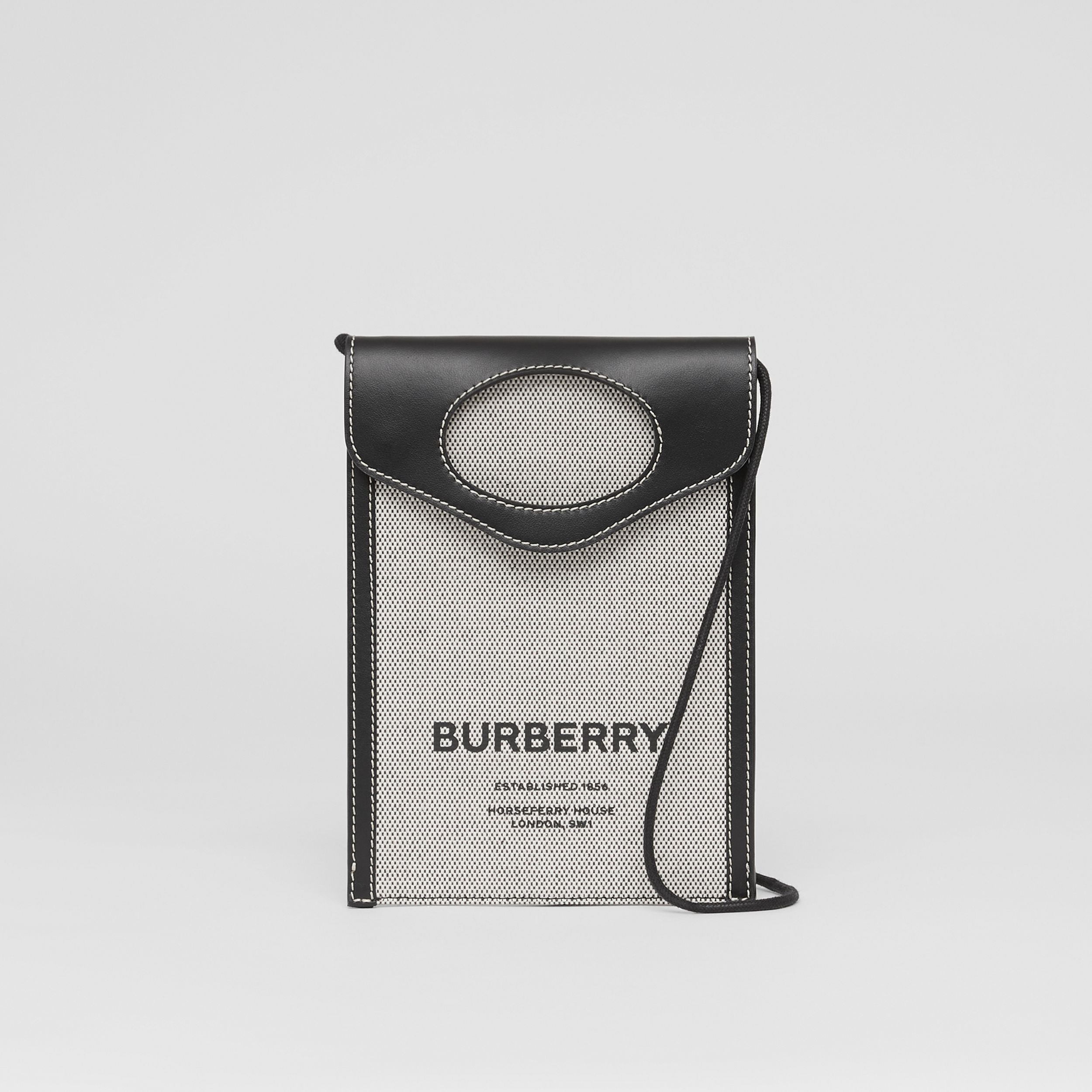 Two-tone Canvas and Leather Pocket Phone Case in Black - Men | Burberry - 1
