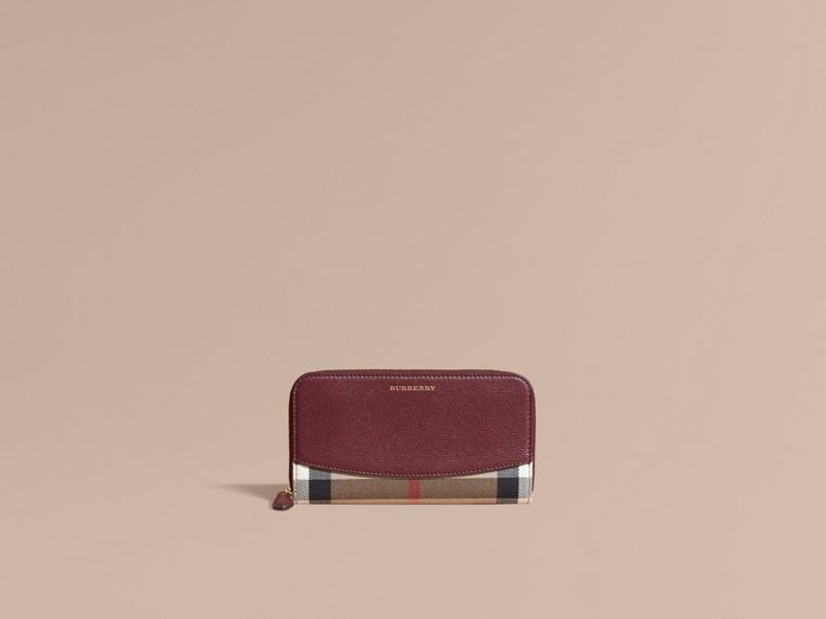 House Check and Leather Ziparound Wallet in Mahogany Red - cell image 1