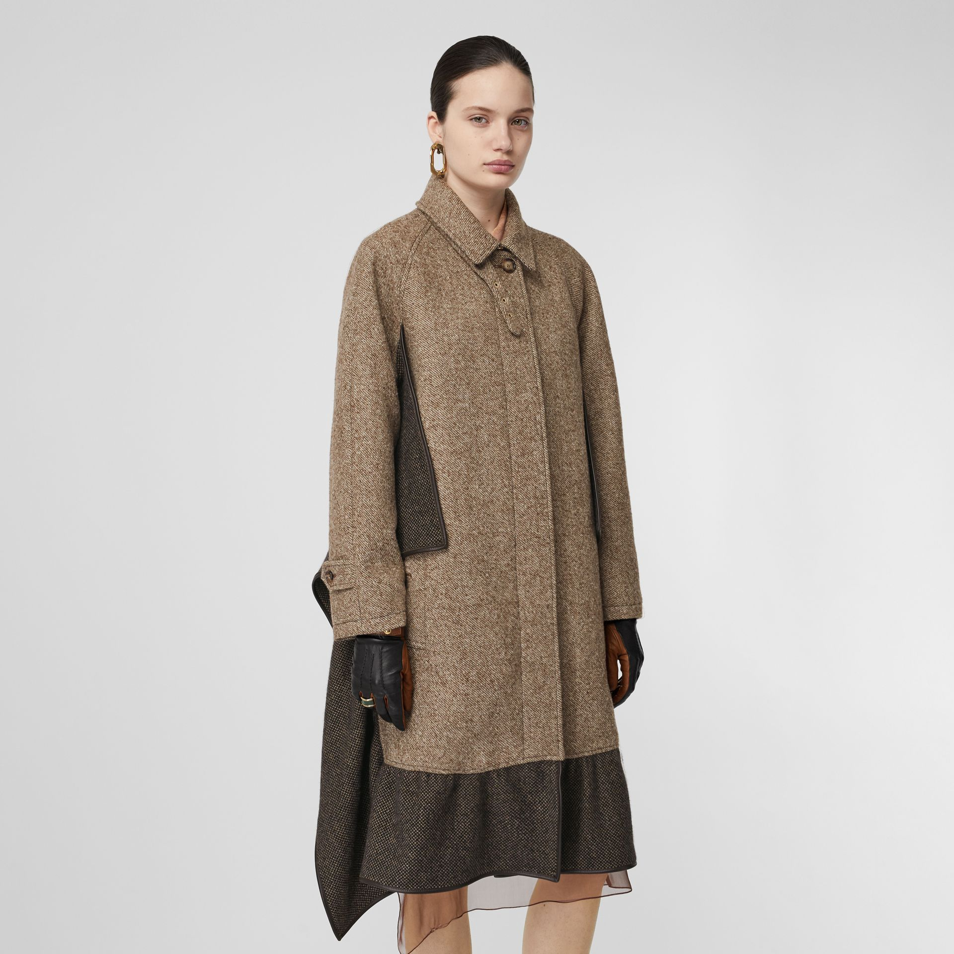 Scarf Detail Wool Mohair Tweed Car Coat in Dark Cheshnut Brown - Women | Burberry - gallery image 5