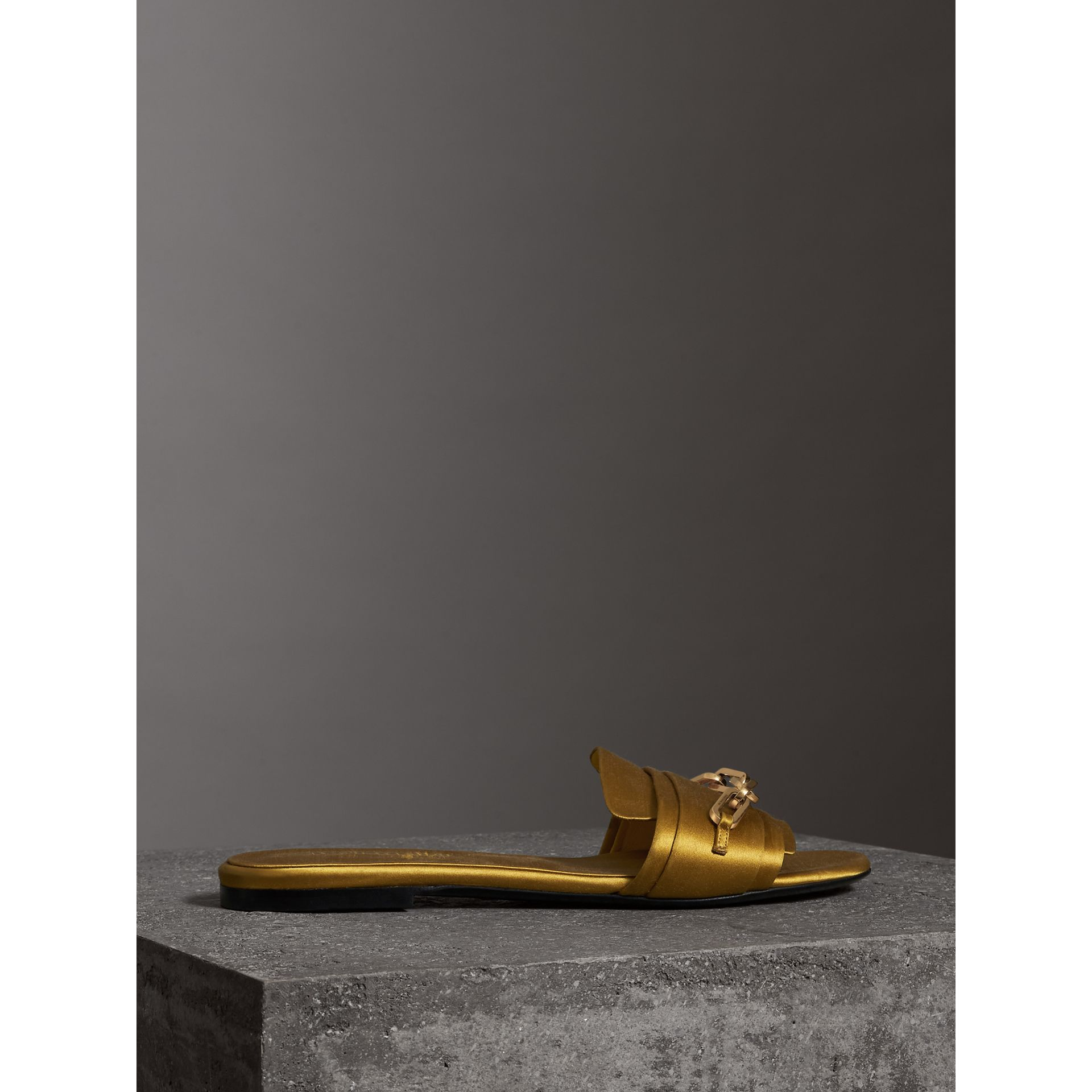 Link Detail Satin and Leather Slides in Antique Yellow - Women | Burberry Australia - gallery image 4
