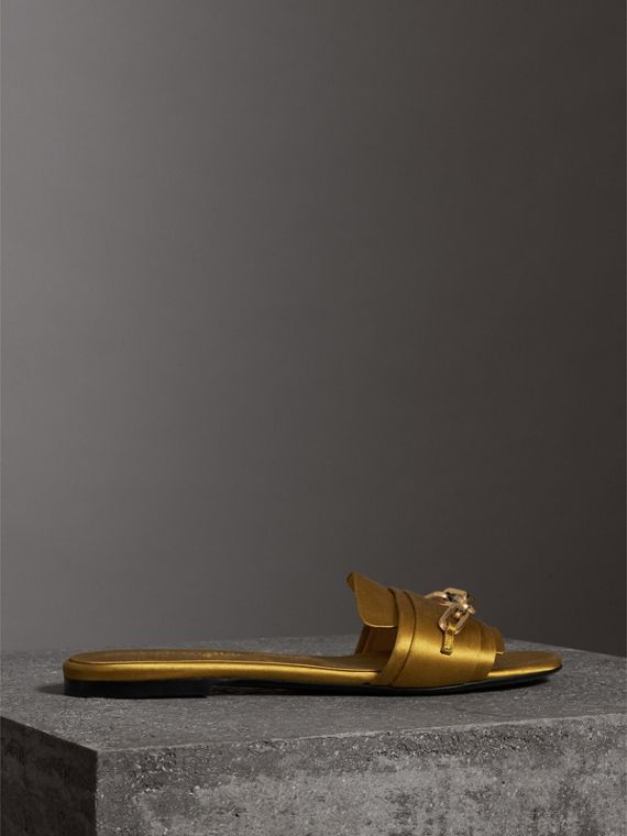 Link Detail Satin and Leather Slides in Antique Yellow