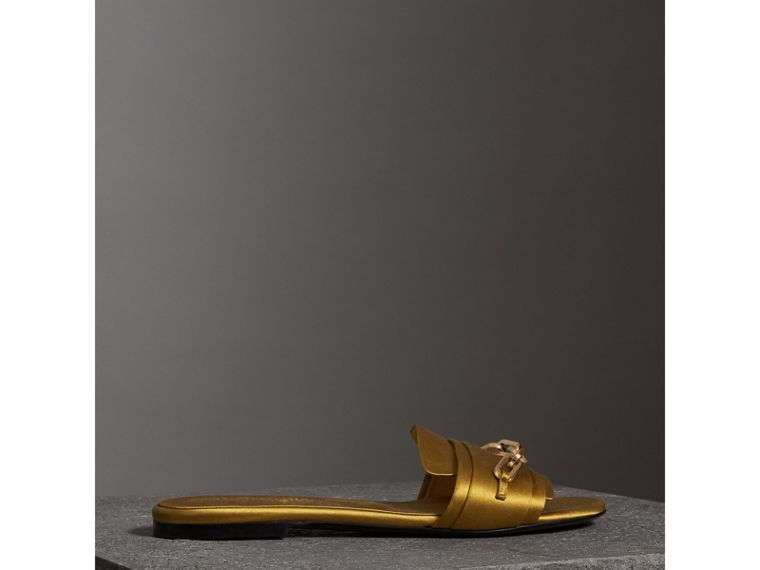 Link Detail Satin and Leather Slides in Antique Yellow - Women | Burberry Singapore - cell image 4