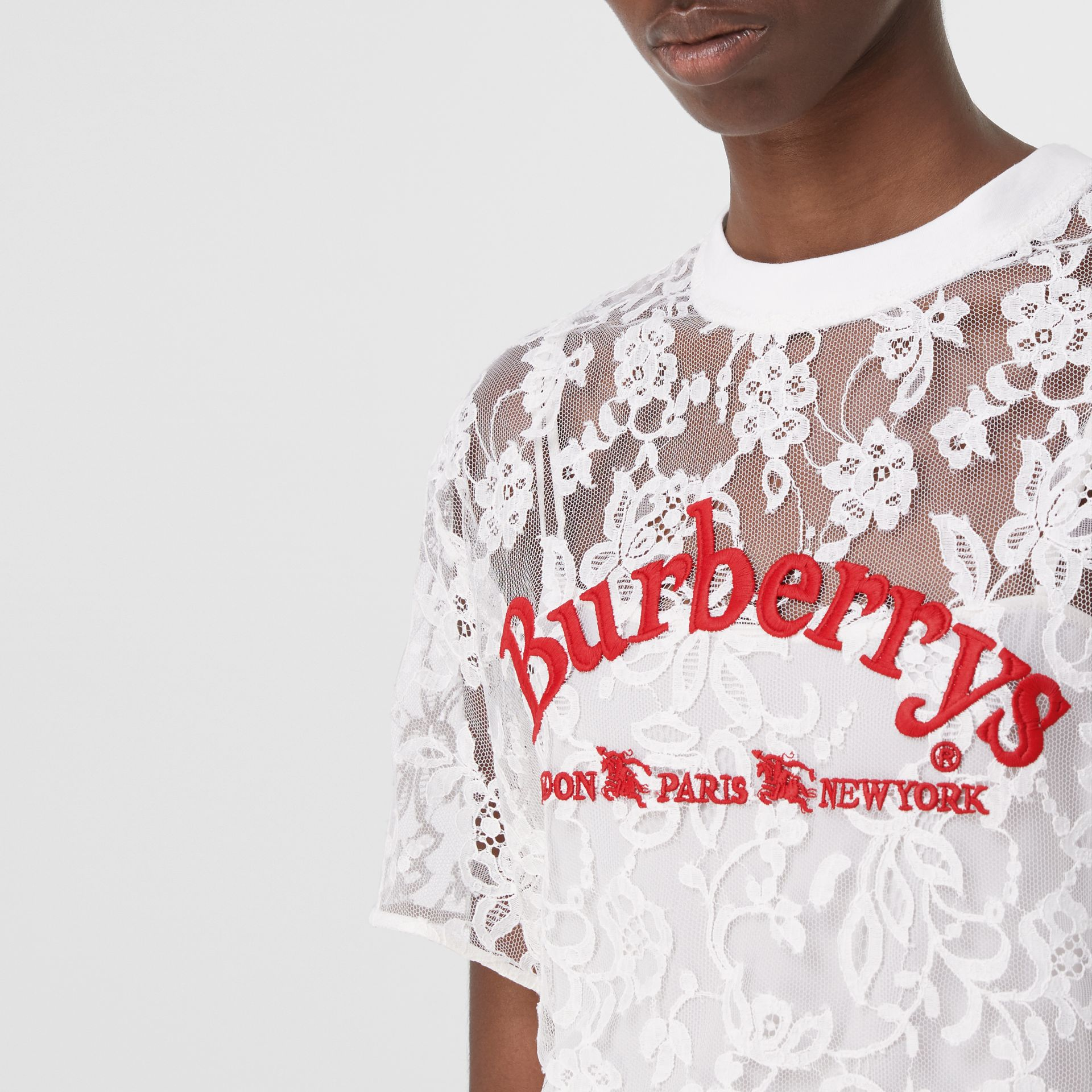 Embroidered Archive Logo Lace Top in Natural White - Women | Burberry Hong Kong - gallery image 1
