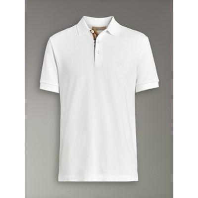 Burberry - Polo en coton avec patte de boutonnage à motif check - 4